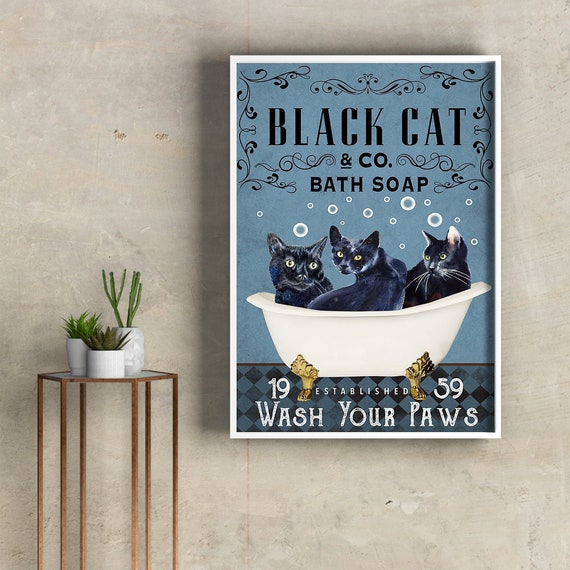 Black Cat Wash your Paws Vertical Poster Wall Decor Poster No Frame