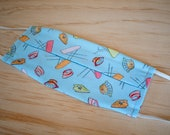 Washable Face Mask, Light Blue Laundry Print, 100% Cotton, Dust and Allergy