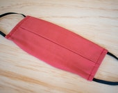 Washable Face Mask, Brick Red, 100% Cotton with Filter Pocket