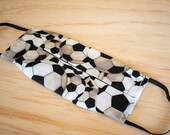 Washable Face Mask, Soccer Print, Triple Layer 100% Cotton with Filter Pocket