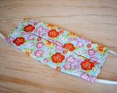 Washable Face Mask, Orange Flower Print, Triple Layer 100% Cotton with Filter Pocket