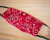 Washable Face Mask, Red Bandana Pattern, 100% Cotton, Dust and Allergy