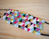 Washable Face Mask, Multicolor Triangle Pattern, Triple Layer 100% Cotton, Dust and Allergy