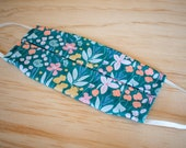 Washable Face Mask, Pastel Floral Pattern, Triple Layer 100% Cotton, Dust and Allergy
