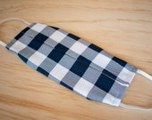 Washable Face Mask, Blue and White Gingham Pattern, Triple Layer 100% Cotton, Dust and Allergy
