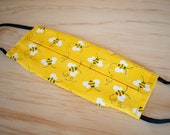 Washable Face Mask, Yellow Bee Pattern, Triple Layer 100% Cotton with Filter Pocket