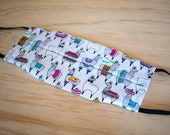 Washable Face Mask, Llama Pattern, Triple Layer 100% Cotton, Dust and Allergy