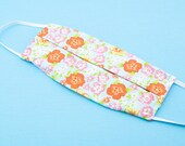 Washable Face Mask, Orange Floral Print, 100% Cotton, Dust and Allergy