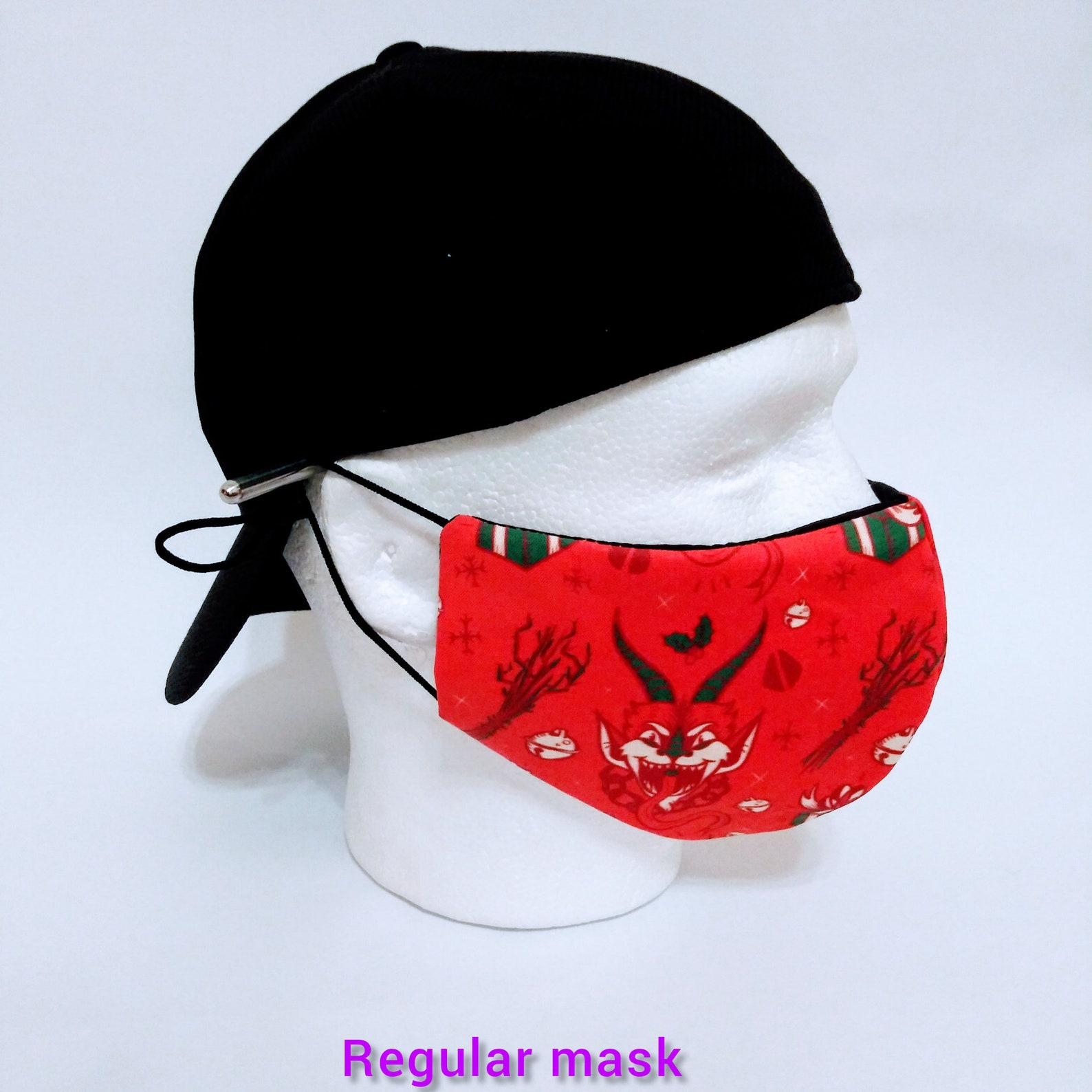 Krampus Fitted Face Mask, Flexible Nose Wire, Soft Elastic Straps w/Adj Beads,3-Layer,Reusable,Washable, Comfortable!