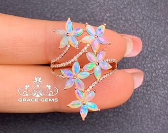 Unique Five Flowers Cluster Marquise Natural Certified Australian Opal Ring/18k/14k rose Gold &Diamonds/Boulder Opal Engagement Wedding ring