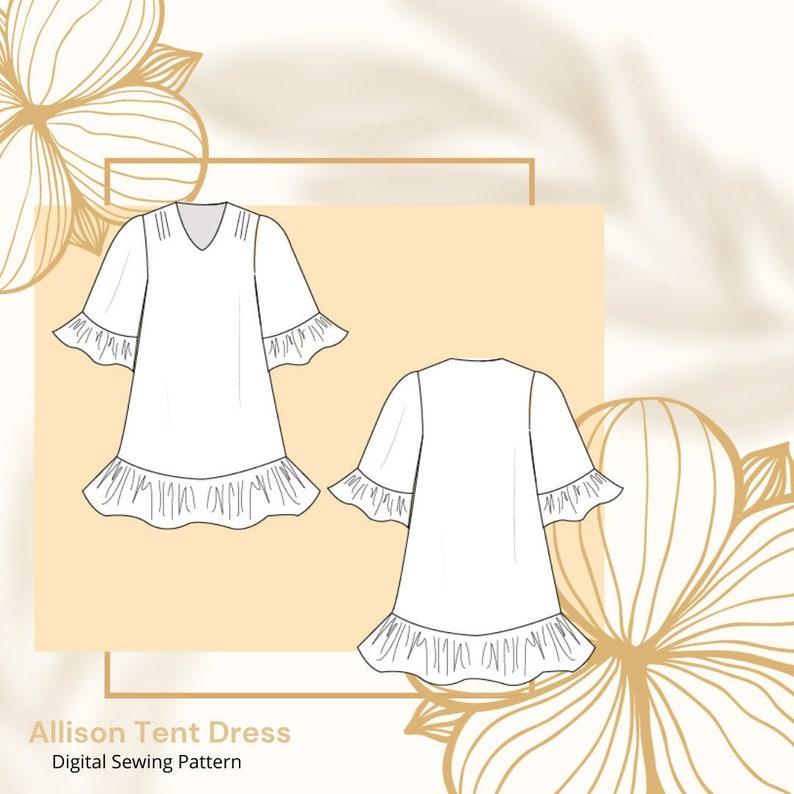 Allison Tent Dress A4/US Letter A0/Copy Shop PDF Pattern image 0