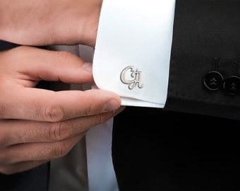 Monogrammed initials personalized cufflinks IN14 custom wedding silver plated or black cufflink cool gifts for men