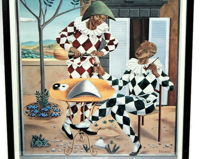 Featured listing image: The Two Pulcinella, by Gino Severini, 1912, tempera on paper