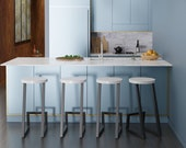 Height 13-40in, 33-99cm wood, metal stool