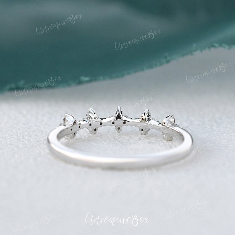 Lab Sapphire Floral Ring Sapphire Ring White Gold Wedding Ring Brilliant Ring Snow Floral Vine Ring Cluster Wedding Band Women Dainty Ring