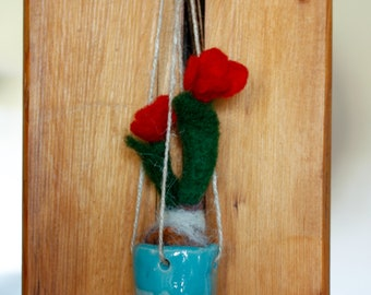 red flowers, felted in ceramic pot, mini pot, hanging, needle felted, flower, mini tulip, small wall ornament or pendant, gift