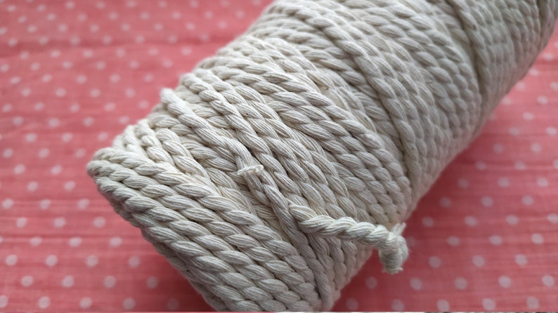 Twisted cord 4 mm natural color cotton twisted cord Macrame rope 108 yards 100m