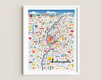 INDIANAPOLIS IN Map Art Wall Decor | City Map Indianapolis Indiana | Art Print Poster | Whimsical Illustration | Day Version