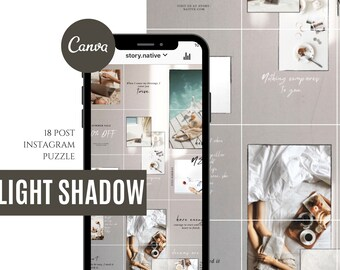 Light Shadow Instagram Puzzle Template for Canva | Instagram Feed | Instagram Aesthetics | Blogger Template | Puzzle Feed by Story Native