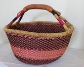 Africa Bolga Basket, Shopping Basket, Market Basket, Colorful, High Quality, Elephant Grass, Stable Braided, Round, Large FAIRTADE
