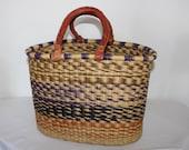 Africa Bolga Basket, Shopping Basket, Market Basket, Colorful, High Quality, Elephant Grass, Stable Braided, Large FAIRTADE