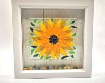 Fused Glass Sunflower Picture