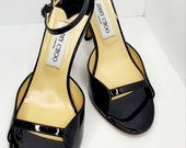 Authentic Jimmy Choo Black Patent Leather Sandals