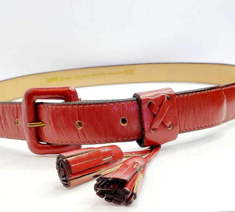 Vintage Red Leather Stanley Blacker Fashion Belt