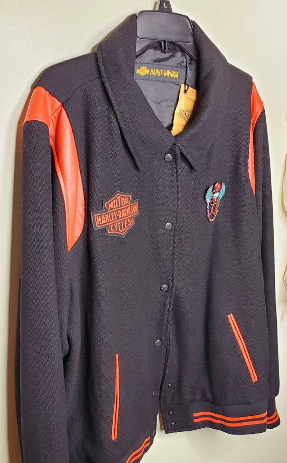 Harley Davidson Black and Orange Women's Varsity J
