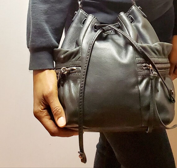 Vintage Authentic Botkier Brand Black Leather Buck