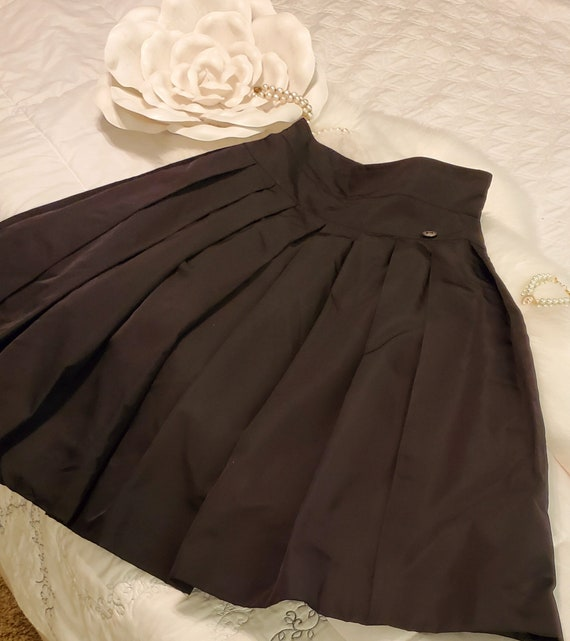 Authentic Vintage CHANEL Black Silk Taffeta Skirt