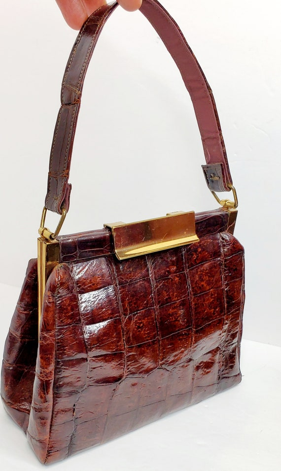 Vintage Top Handle Brown Alligator Bag