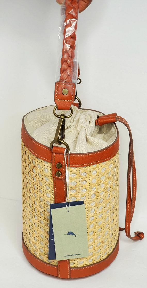 Tommy Bahama Straw Bucket Bag NWT