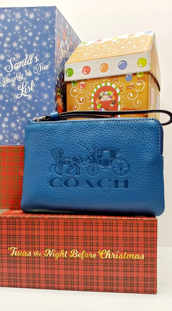 COACH Pre-Loved Blue Leather Wristlet Bag