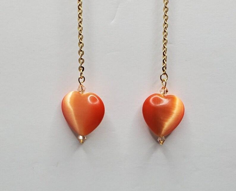 Handmade Glass Heart Dangle Drop Earrings