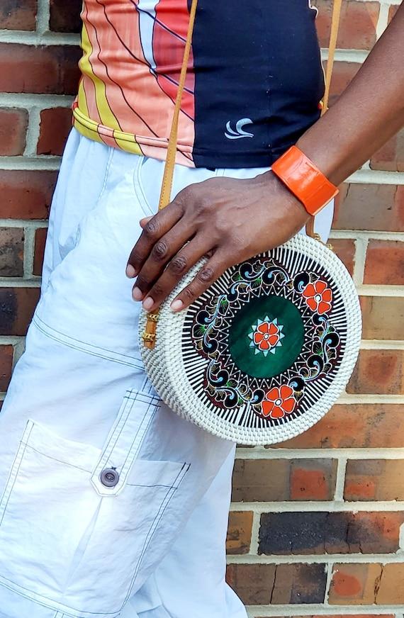 White Circular Straw Shoulder Bag Floral Painted D