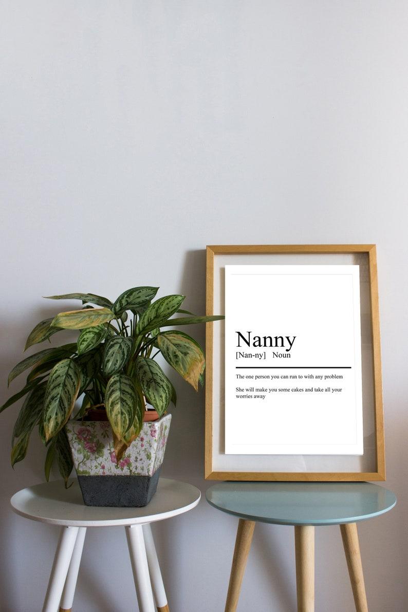 Birthday Present Nanny Dictionary Print Nan Print Home Decor Dictionary Definition Gran Print Grandparents Print Definition Wall Art