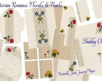 Victorian Romance Shabby Chic Florals & Pearls Junk Journal Printables Vintage Paper Journal Kit Instant Download.
