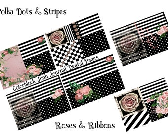 Polka Dots and Stripes Colorblock Black and White Printable Paper Pack, Decorative Paper, Retro Junk Journal Pages