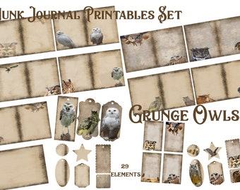 Grunge Owls Printable DIY Digital Paper Pack Junk Journal Tags, Notecards, Distressed Grunge Collage Scrapbooking Pages