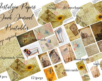 Nostalgia Vintage Papers Junk Journal Printables Digital Paper Pack with Tags, Bookmark, Note Cards, DIY Envelope Journal pages