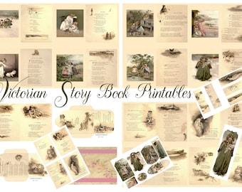 Victorian Era Story Book Prints Junk Journal Printables, Backgrounds, Tags, Envelopes, Bookmarks, Cards. Instant Download Digital Paper.
