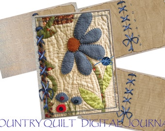 Country Quilt Distressed Paper Writing Journal, Digital Journal, Goodnotes Journal, Hyperlinked Section Writing Journal for IPad or Tablet