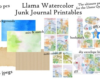 Llama Watercolor Junk Journal Printables Digital Paper Pack with Tags, Bookmark, Note Cards, DIY Envelope, Journal Pages