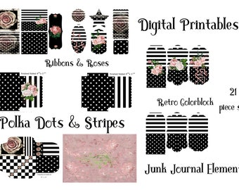Polka Dots and Stripes Colorblock Black and White Printable Paper Pack Retro Junk Journal Tags, Cards, Envelope, Bookmarks