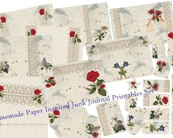 Unique Handmade Paper Inspired Junk Journal Printables - Pages, Backgrounds, Tags, Pockets, Envelopes, Bookmarks, Cards.