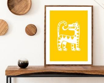 tribu print • white on yellow wall art  • latina designed wall decor