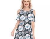 Los Angeles Dodgers Women 39 s Cold Shoulder O-neck Dress