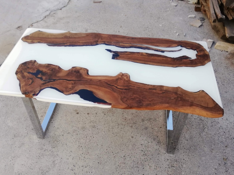 White Resin Walnut Table; Live Edge Dining Table