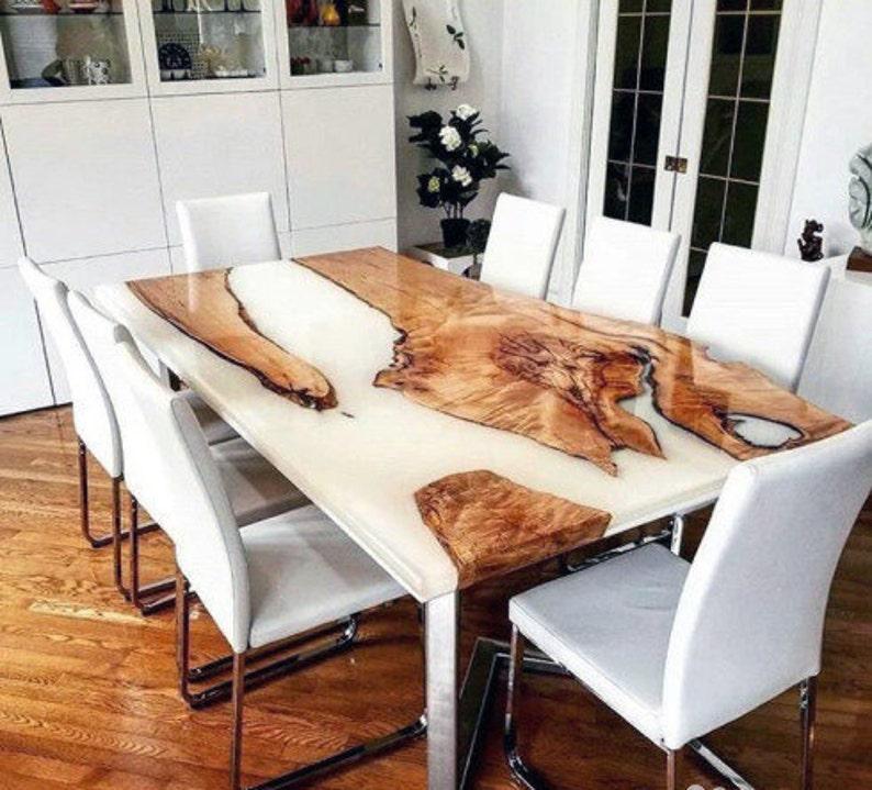Epoxy Table, White Resin Walnut Table
